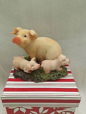 Mama Pig with Piglets Figurine - 2 1/2 inches tall