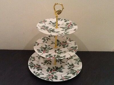 NEW 2/3 Tier Royal Stafford Holly Design Cakestand