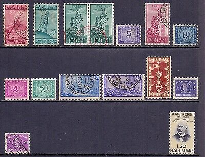 Italy. 1 mint and 14 used stamps issued 1947/52