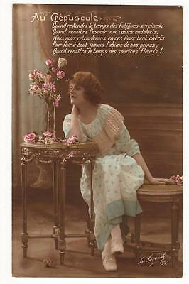 Vintage French Rp Ww1 Postcard,glamourous Lady, At Dawn,1917,lovely Fashion