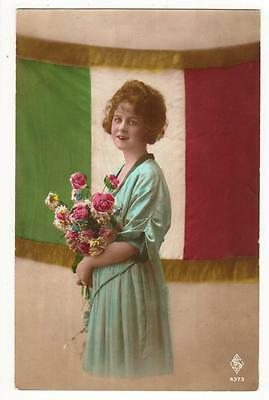 Vintage French Rp Patriotic  Postcard,glamourous Lady,french Tricolore,1919
