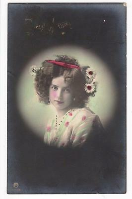 Vintage Rp Postcard,glamourous Young Lady, Daisies,lovely Hairstyle,hand Tinted