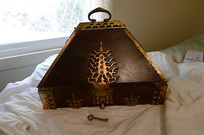 Antique 19th c . RARE Lg  Wooden India Wedding Dowry/jewel Box With Key 12.6 lbs