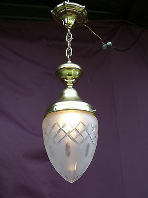 @ Lovely Vintage French Halllight Chandelier With Engraved  Glass - Special !