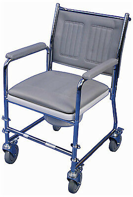 Linton Mobile Wheeled Commode With Footrests- BRAND NEW - with instructions