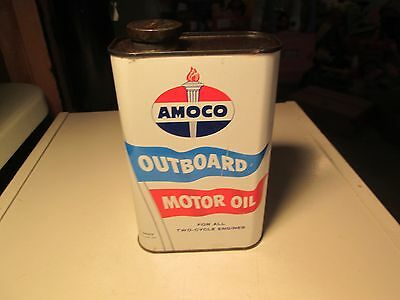 Vintage Amoco Outboard Motor Oil Tin Can 1 Quart Full