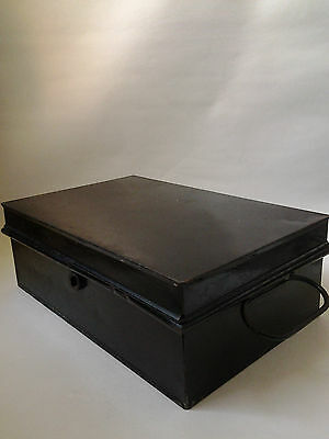 Small black metal deed box tin with carry handles on side - Steampunk prop?