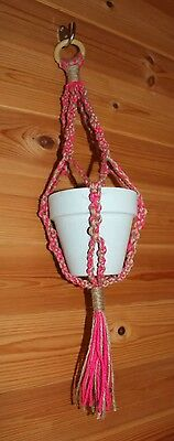 Small Handmade Natural Jute & Pink Macrame Knotted Hanging Plant Pot Holder