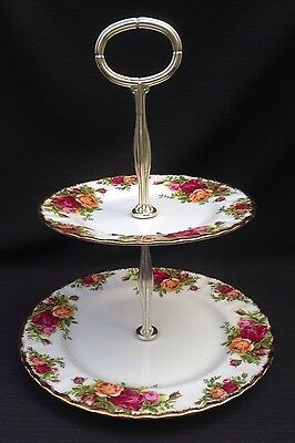 ROYAL ALBERT OLD COUNTRY 2 TIER CAKE STAND - 1st Quality