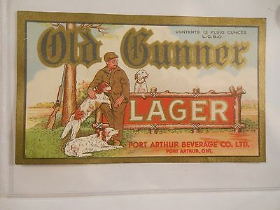 Brewery label, Old Gunner Lager, Port Arthur, Ontario