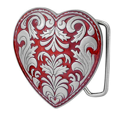 RED Decorative Heart Girly Belt Buckle Feminine