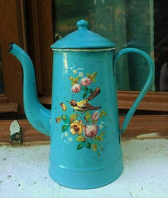 French Vintage Enamel Blue Coffee Pot with Raised Roses,Bird and Butterfly