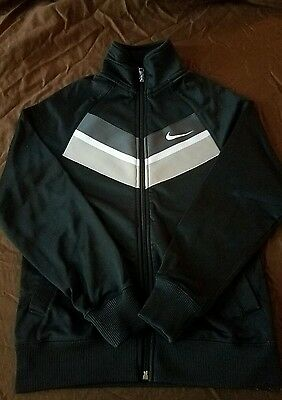 Nike~ Kids Small Athletic Zip Up Jacket~ Black & Gray