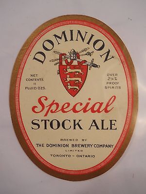 The Dominion Brewery Co., Ltd., Toronto Ontario beer bottle label