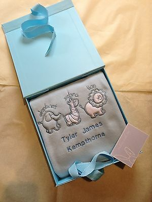 Personalised Baby Blanket Embroidered Gift Boxed Blanket. Christening / Birth
