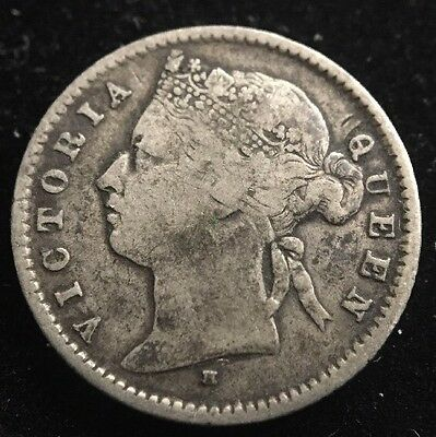 1877-H Mauritius Twenty Cents. Only 375,000 Minted. Queen Victoria 20 Cents.