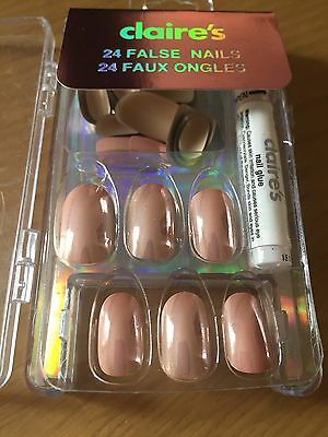 Claire's Branded False Full Coverage Curved Nails In Almond Tone With Glue