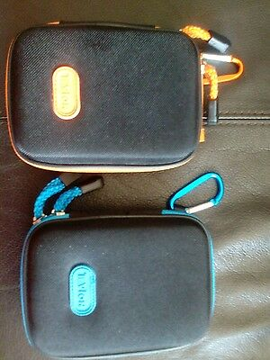 Music travel speakers set of two, orange & blue, AA batteries (included)