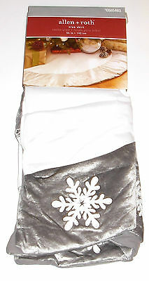 Allen + Roth Christmas Tree Skirt 56 inches, White with Gray, New w/Tag!