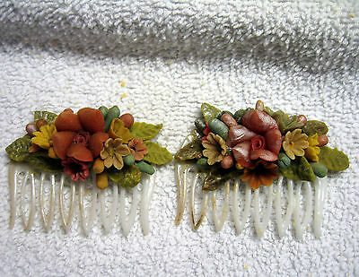 Vintage Pr. Molded Celluloid  Multicolored Flowers Decorative  Hair Combs
