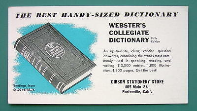 INK BLOTTER 1940s - Webster's Collegiate Dictionary 5th Edition Porterville CA