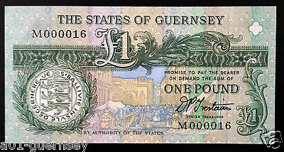 GUERNSEY SIGNED TRESTAIN £1 (FIRST RUN & LOW NUMBER) M0000 16 MINT UNC P52b