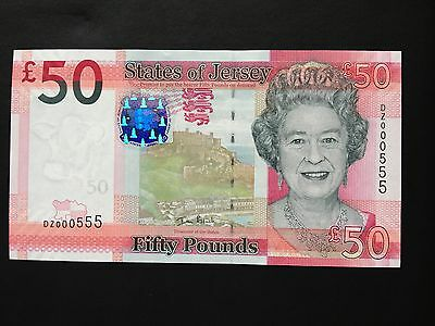 (Mint Uncirculated) States Of Jersey £50 Dz 000 555 First Run Replacement Note.
