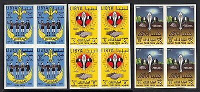 Libya 1962 Scouts Set Imperf Blocks Of 4 Never Hinged