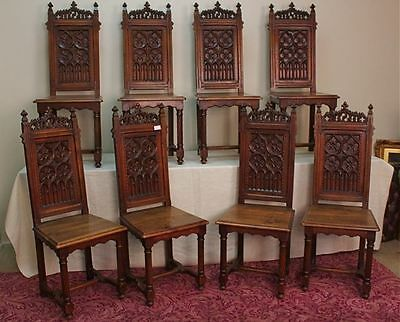 ANTIQUE GOTHIC CARVED WALNUT  - Set of 8 Dining Chairs - 1880's