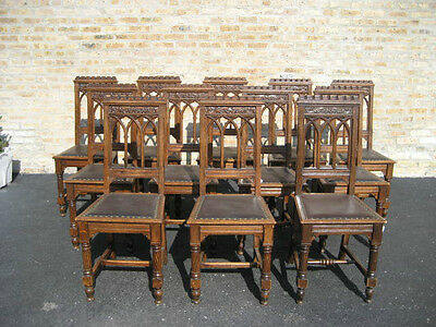 ANTIQUE CARVED OAK SET of 12 GOTHIC DINING CHAIRS - RARE - 1890's