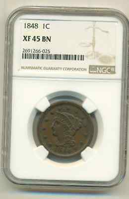 Ngc Xf-45 1848 Large Cent