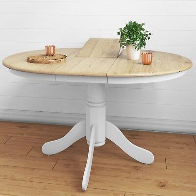 Rhode Island Extending Round 4 Seater Dining Table in White/Natural RHD011