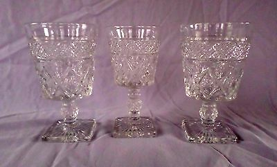 Imperial Glass - CAPE COD-Clear - Goblet x3 (2 Water + 1 Wine) - 1932 to 1984