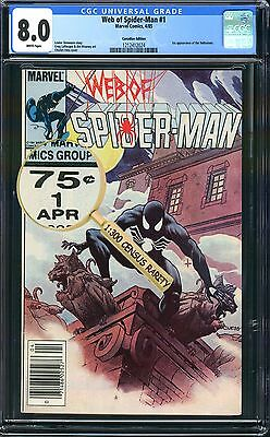 Web of Spider-Man #1 *VARIANT* CGC 1:300 AMAZING RARITY 75c Canadian KEY 1st App