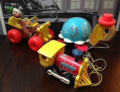 Vintage S3 Fisher-Price 1962 Tip Toe Turtle Pull Toys Jalopy Toot-Toot Train Toy