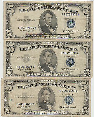 Lot of 3 1953-A $5.00 Silver Certificates
