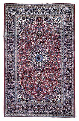 Large 8x10 Antique Red and Blue Persian Kashan Hand Made Oriental Rug