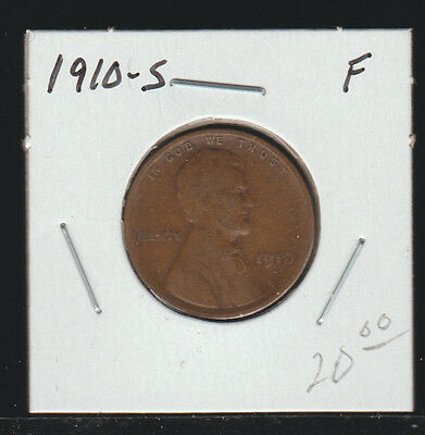 1910-S Lincoln Cent, F