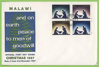 Malawi 1967 Christmas set on First Day Cover