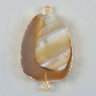 Botswana Agate Connector Gold Plated B025701