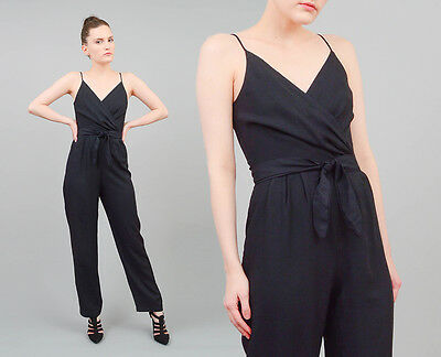 VTG 80s black spaghetti strap high waist tapered pant suit jumpsuit romper XS S