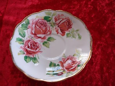 "Queen Anne ""lady Margaret Fine Bone China Saucer Cabbage Rose"