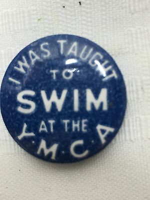 YMCA Swimming Pin Back Button I Was TAUGHT TO SWIM