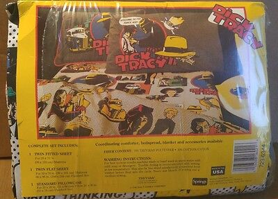 DICK TRACEY BED 3 SHEET Set 1990 MADONNA VINTAGE Craft Fabric Sheets Textile