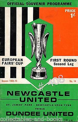 NEWCASTLE UNITED v DUNDEE UNITED - EUROPEAN FAIRS CUP FIRST ROUND 1969
