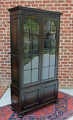 Antique English Dark Oak Jacobean Style Large 2-Door Bookcase Display Cabinet