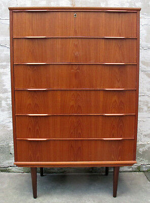 DANISH MODERN TEAK TALL DRESSER by EJSING mid century chest of drawers