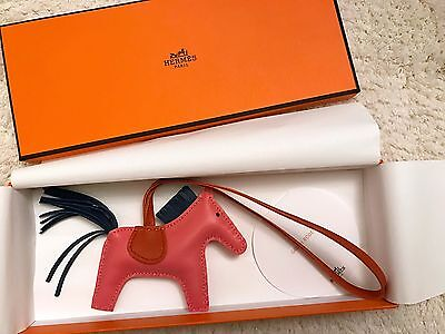 BNIB Authentic Hermes GRIGRI RODEO PM Horse Bag Charm Rose Azalee Pink RARE