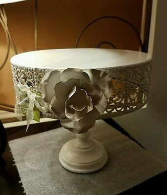 Opulent Treasures White Rose Cake Stand - NWT