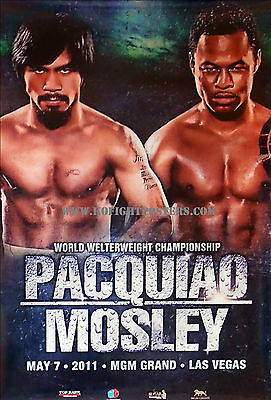 MANNY PACQUIAO vs. SUGAR SHANE MOSLEY /39in x 27in Original Onsite Boxing Poster